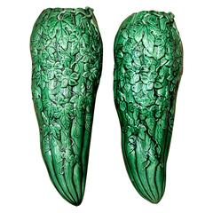 Pair of Antique Awaji Pottery Gourd Squash Form Wall Pocket Planter Vases