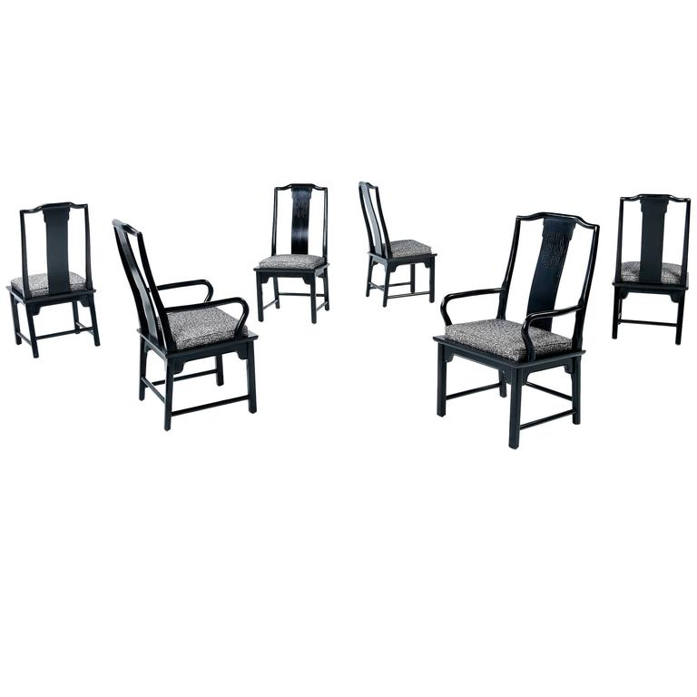 Asian Modern Black Lacquer Chin Hua Dining Chairs By Century For Sale