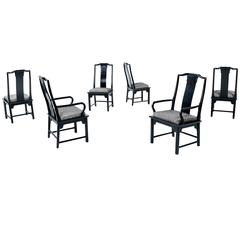 Asian Modern Black Lacquer Chin Hua Dining Chairs by Century