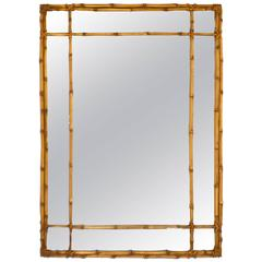 Hollywood Regency Faux Bamboo Gilt Wall Mirror