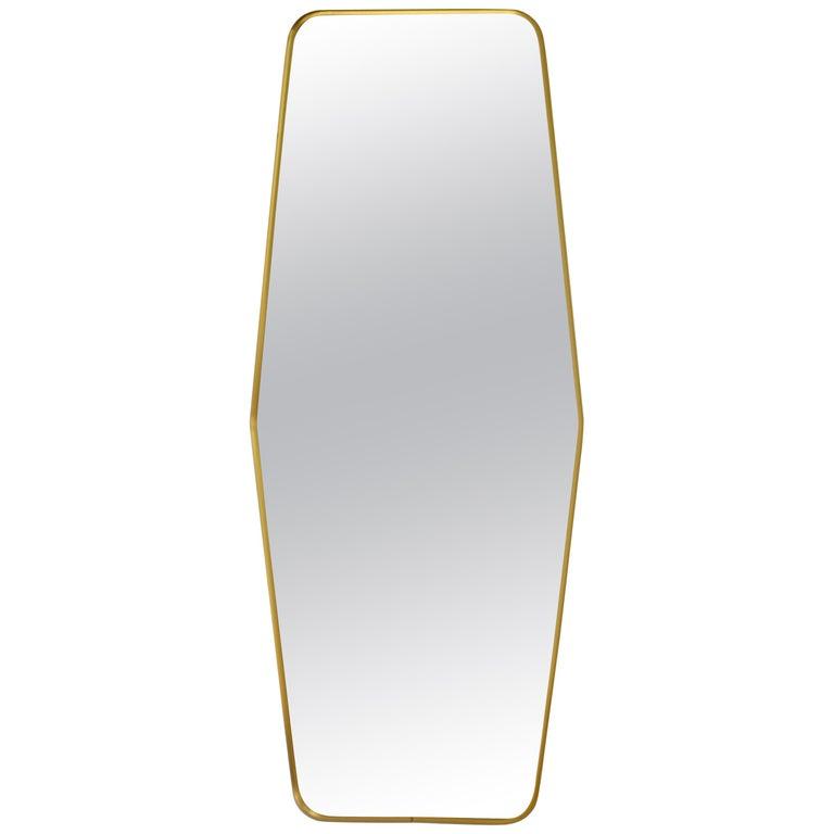 Midcentury Brass Wall Mirror