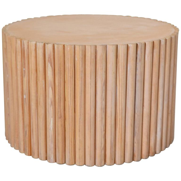 Postmodern Wooden Drum Form Side Table