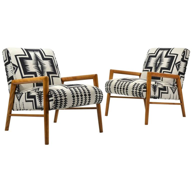 Leslie Diamond Pair of Lounge Chairs by Conant Ball 1
