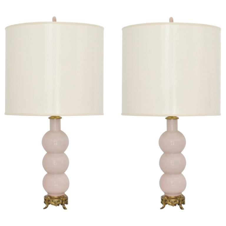 Pair of Hollywood Regency Ceramic Stacked Ball Form Table Lamps