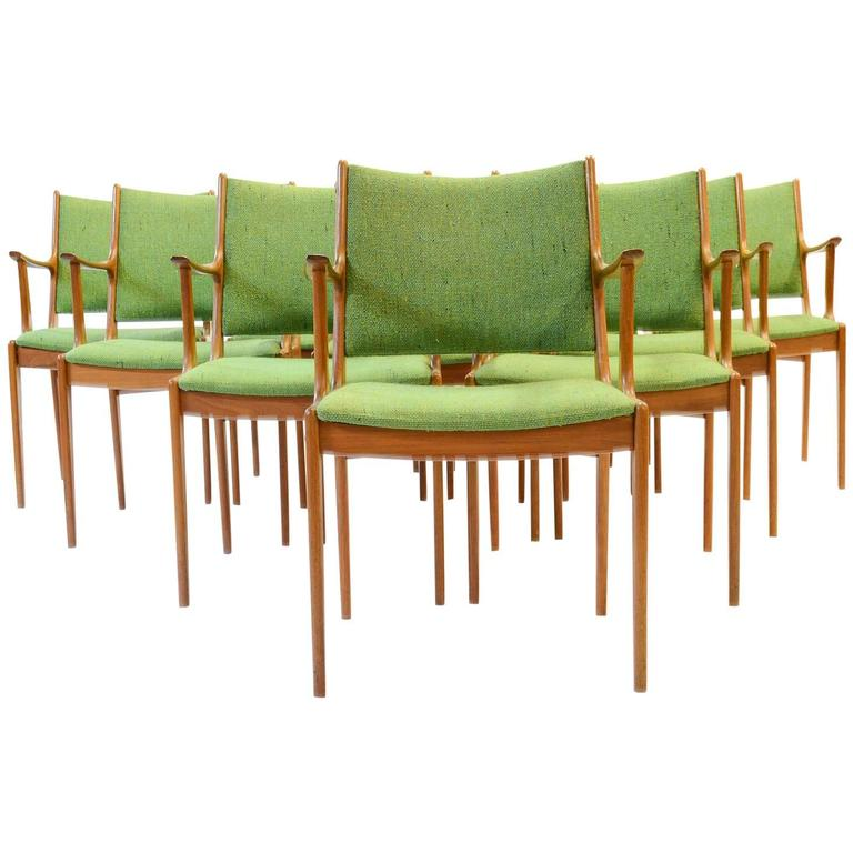 Ten Johannes Andersen Armchairs with Nanna Ditzel Hallingdal Green Fabric For Sale
