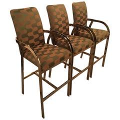 Brass Gold Arm Barstools Stools Vintage Set 3 Hollywood Regency DIA Upholstered