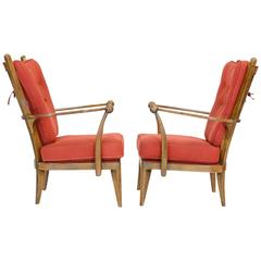 Amazing Pair of French Walnut High Back Club Chairs after Guillermes et Chambron