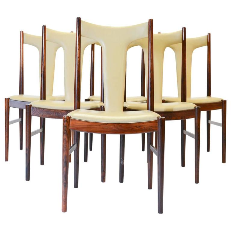 Six Rosewood Dining Chairs in Leather by Arne Vodder for Sibast of Denmark For Sale