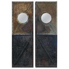 French Factory Riveted Iron Pair of Doors, 1920s