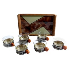 Art Deco Six Setting Cups with Matching Tray Set