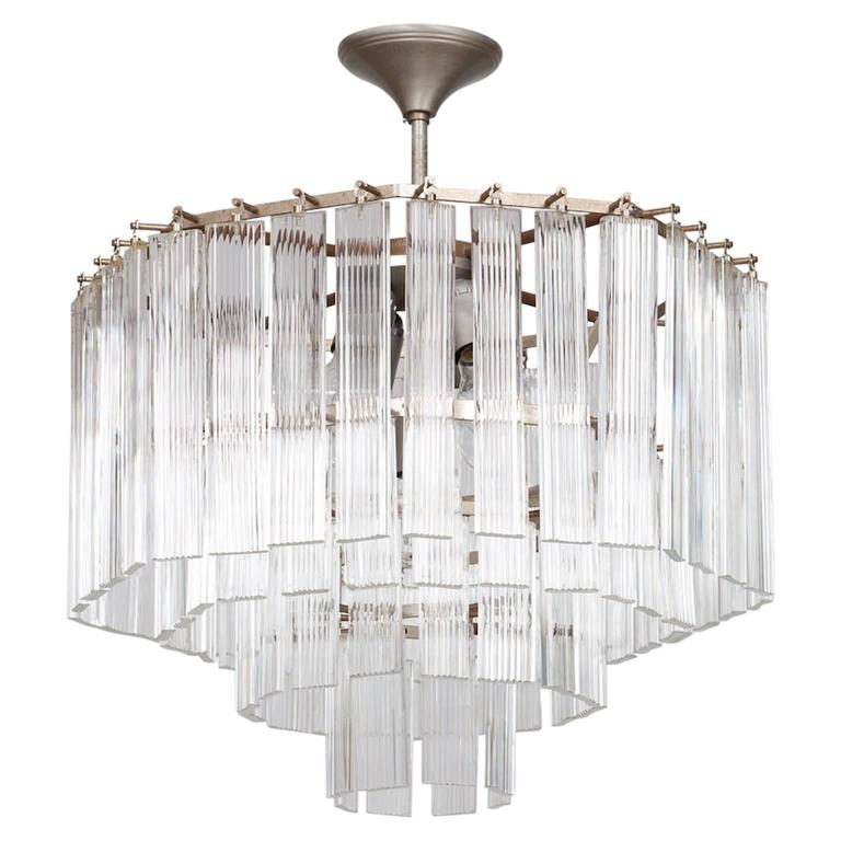 Italian Venetian, Chandelier, blown Murano Glass, Transparent & Chromed ,1970s