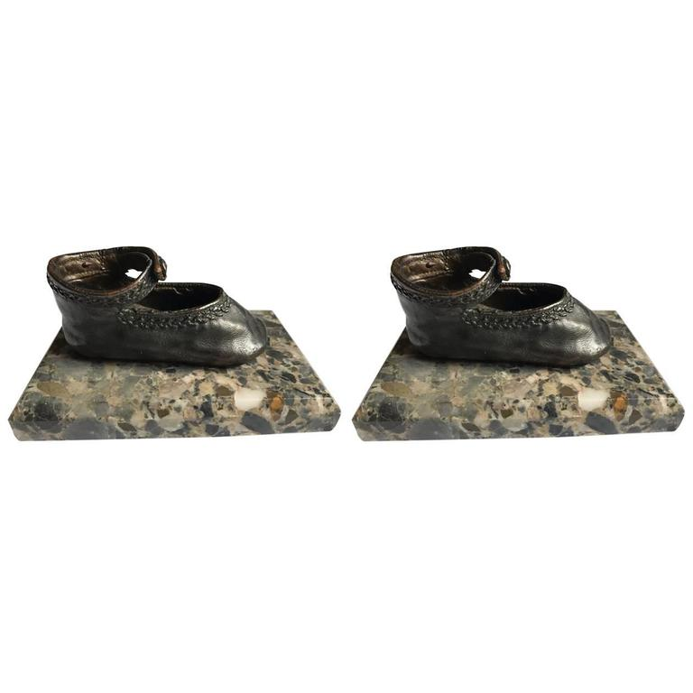 Bronze Ballerina Style Baby Shoes Pair Weights with Marble Base For Sale