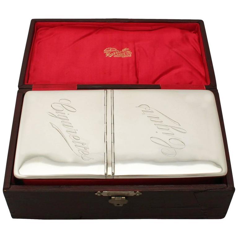 Antique Sterling Silver Cigarette/Cigar Box, Edwardian