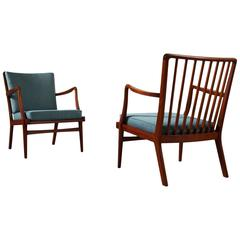 Peder Christensen Set of Two Teak Easy Chairs with Blue Fabric Upholstery