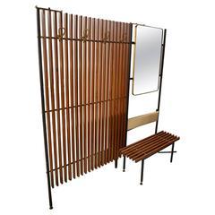 Fantastic Italian Composition of Coat Hanger Bench and Mirror, circa 1960
