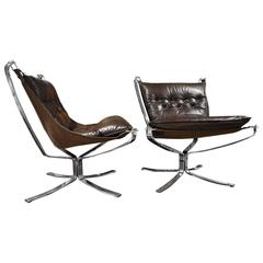 "Fantastic Pair of Sigurd Ressel ""Falcon"" Armchairs Chromed Structure, circa 1960"