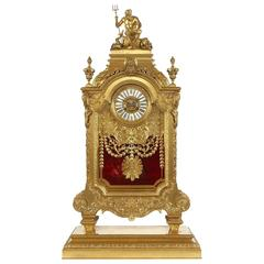 Large French Antique Ormolu Mantel Clock by F. Barbedienne