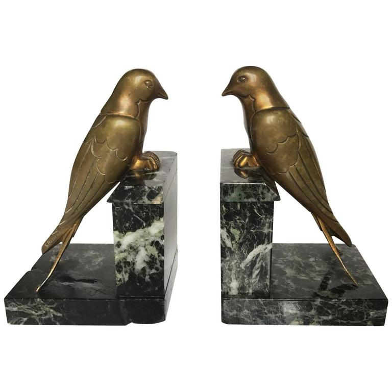 French 1930s Art Deco Bronze Swallow Bird Bookends by Suzanne Bizard 1