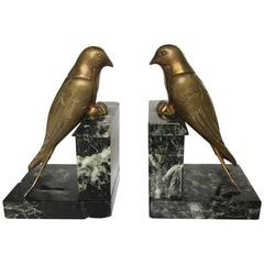 French 1930s Art Deco Bronze Swallow Bird Bookends by Suzanne Bizard