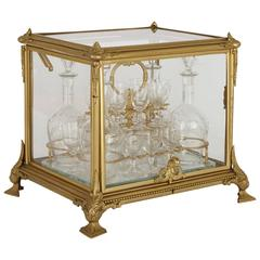 French Antique Ormolu and Glass Casket Containing a Liqueur Set