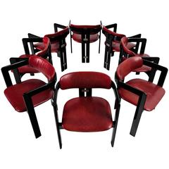 Augusto Savini Set of eight Dining Room Chairs with Red Leather Upholstery