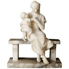 Antique Alabaster Sculpture of a Woman and Child by Pugi