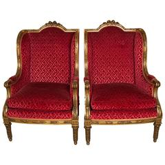 Pair of Giltwood  armchairs in the Louis XVI Style, France, circa 1880