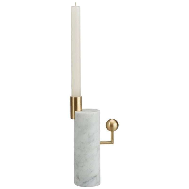 Stargazer Candleholder, Carrara Marble and Brass, by Lara Bohinc, In Stock For Sale