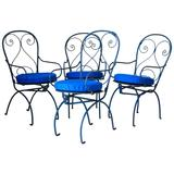 Set of Four Unusual Wrought-Iron Garden Chairs, France, circa 1920s