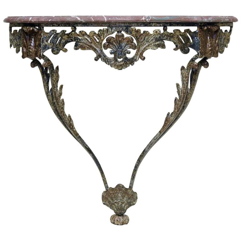 Unusual Wrought Iron and Marble Rocaille-Style Console, France, circa 1940s