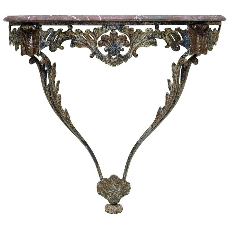 Unusual Wrought Iron and Marble Rocaille-Style Console, France, circa 1940s For Sale