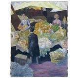 Large Oil Painting of a Market Scene, circa 1930s-1940s