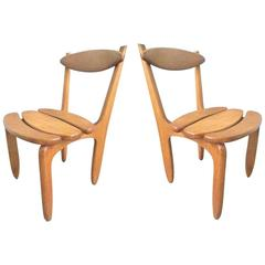 "Guillerme et Chambron, Pair of Oak Chairs ""Thierry"", Edition Votre Maison"