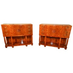 Pair of Art Deco Cabinets in Walnut Burl and Bronze, circa 1930