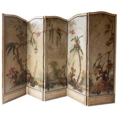 19th Century Louis XV Style Five-Fold Painted Screen