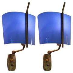 Pair of Wall Lamps, Design Stilnovo, 1950