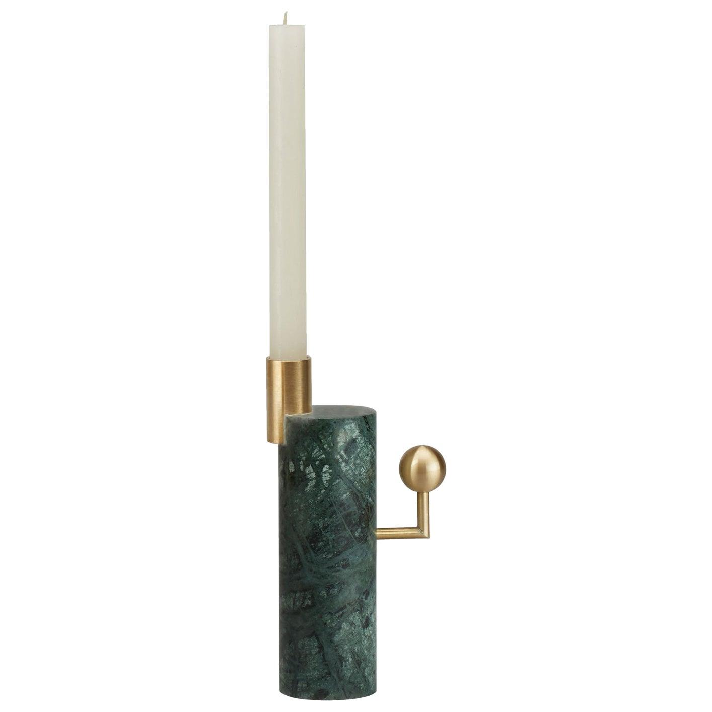 Lara Bohinc, Stargazer Candleholder, Verde Guatemala Marble and Brass, In Stock