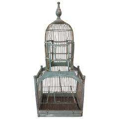 Victorian Cathedral Dome Bird Cage in Original Green Paint, circa 1880