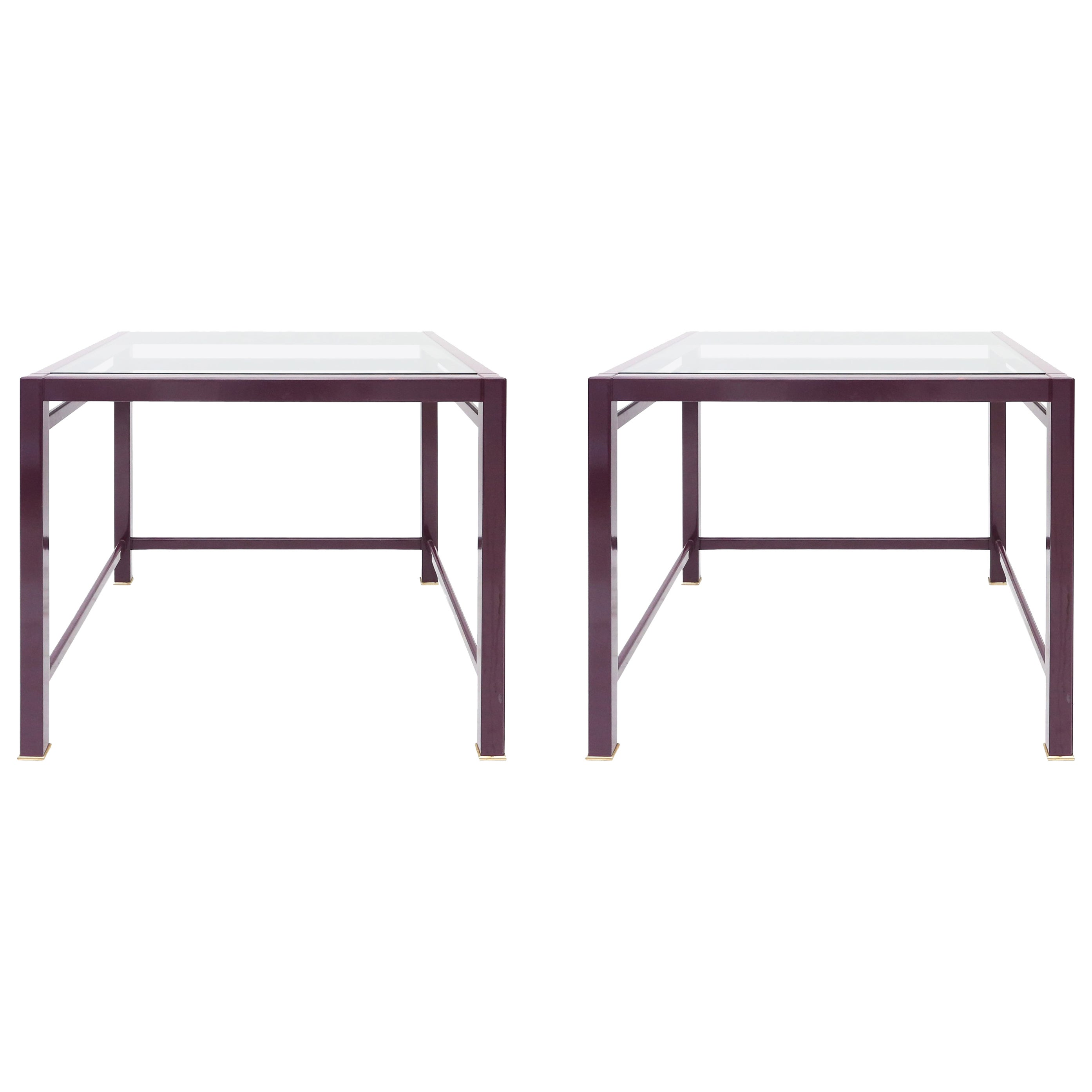 Purple and brass post-modern pair of side tables
