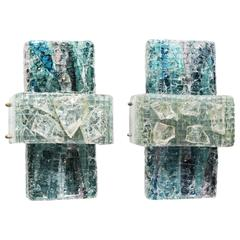 Pair of Brutalist Glass Sconces for RAAK