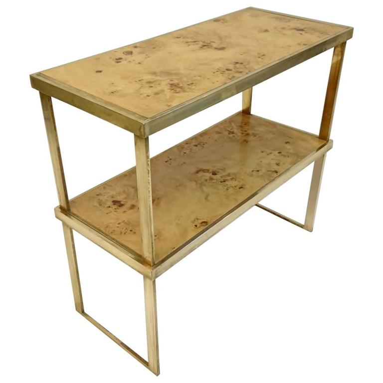 Exceptionnel Multipurpose Italian Burl And Brass Shelf, Coffee Table Or Side Table