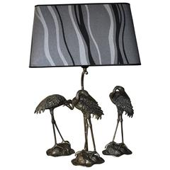 Maison Jansen Silver Plated Crane Table lamp with two statues