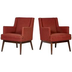 Jens Risom-Style Walnut Frame Lounge Chairs, Pair