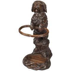 19th Century Carved Black Forest Dog Umbrella Stand
