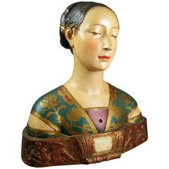 """Antique Polychrome Bust of """"Princess of the House of Naples, Berlin"""", circa 1900"""
