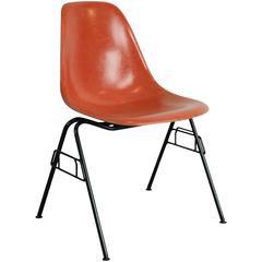 Charles Eames Herman Miller DSS Chair in Blood Orange on Original Stacking Base