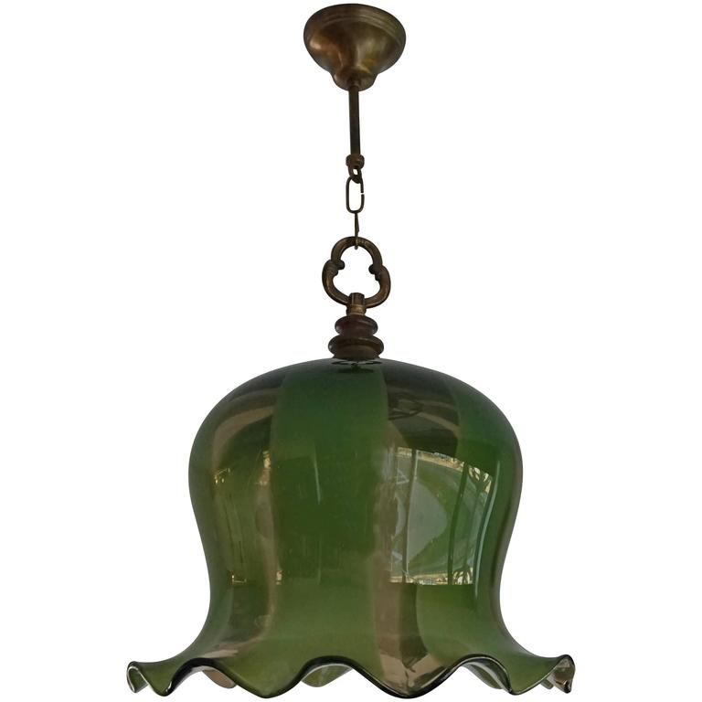 Mid-Century Vintage Design Flower Shaped Green Pendant One Light Chandelier