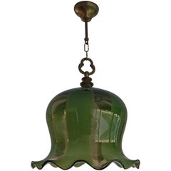 Mid-Century Modern Era Flower Design Green Pendant Light / One Light Chandelier