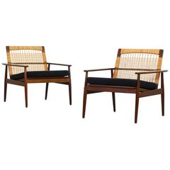 Rare Pair of Lounge Easy Chairs by Hans Olsen for Juul Kristiansen
