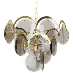 Vistosi Smoked Glass Disc Chandelier, Italy, 1960s